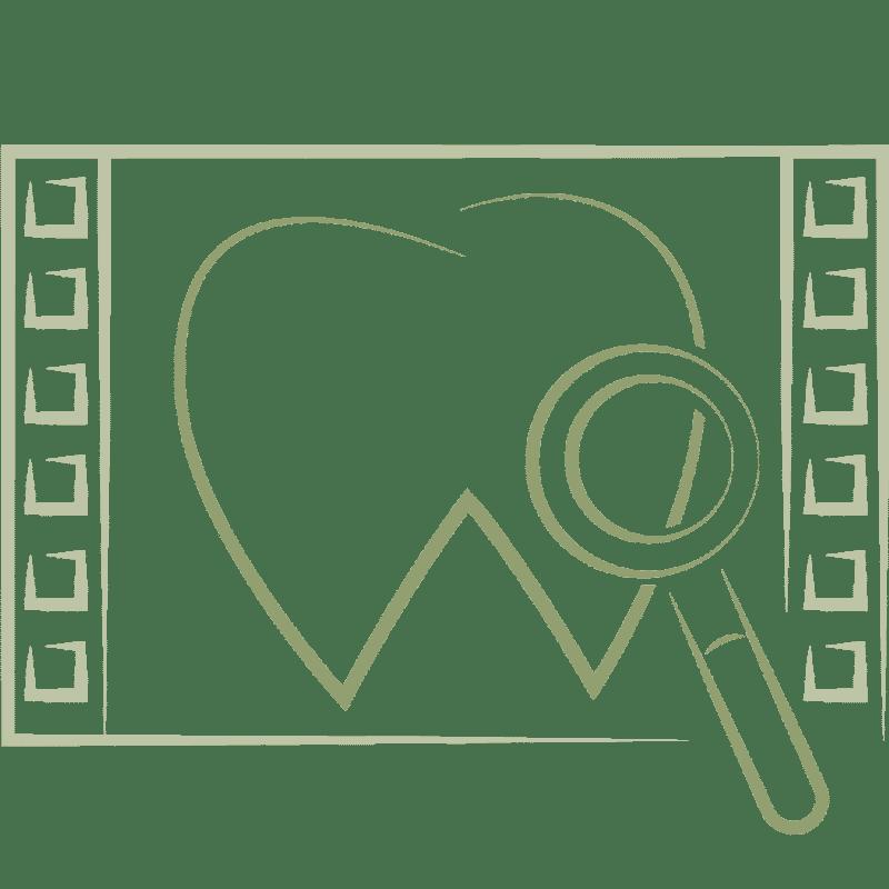 Zahn unter Lupe in einem Filmsymbol für Röntenaufnahmen