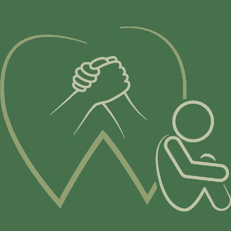 Symbol ineinandergreifende Hände und zusammengekauerter Mensch am Zahn lehnend