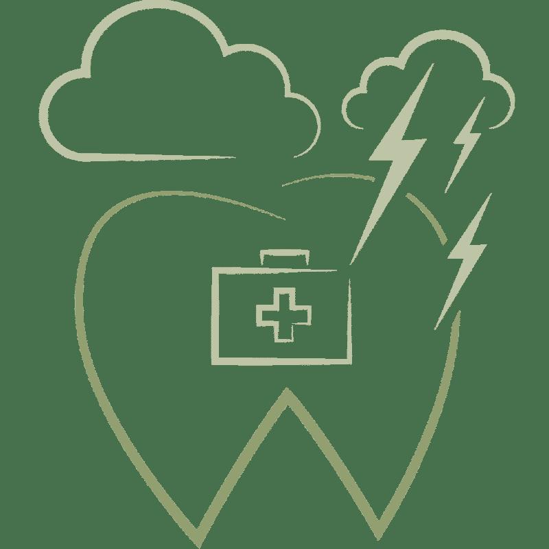 Zahn mit Arztkoffersymbol und Blitzen darüber als Symbol für Notfälle